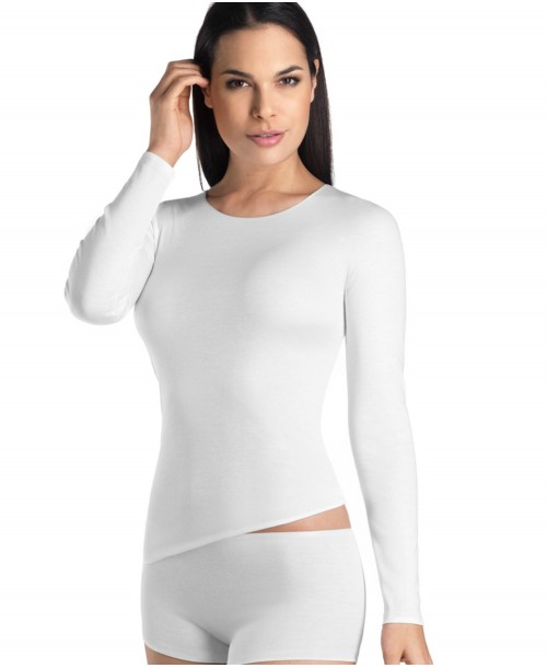 Cotton Seamless Long Sleeved Shirt White Camisoles & Vests