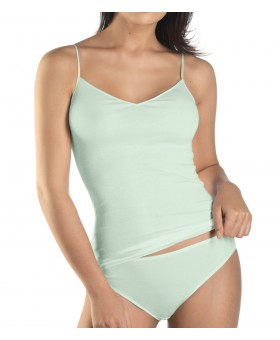 Cotton Seamless Spaghetti Top Light Green Camisoles & Vests