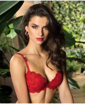 Dressing Floral Solaire Red Push Up Bra