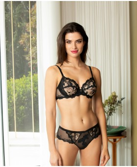 Dressing Floral Black Full Cup Bra