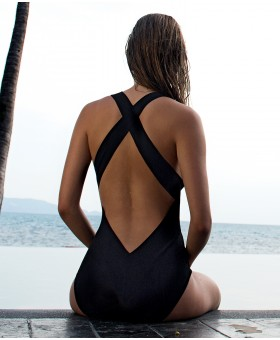 Capri Black Swimsuit V Neck
