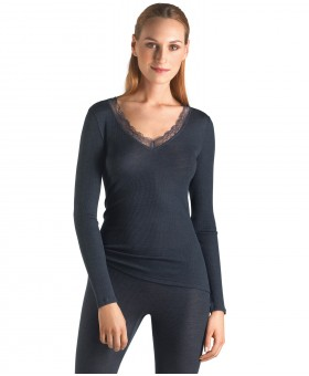 Woollen Lace Long Sleeved V Neck Top Midnight Blue Camisoles & Vests