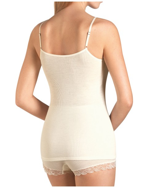 Woollen Lace Spaghetti Top Cream Camisoles & Vests
