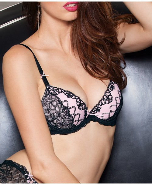 J'Avoue Rose Push-Up Bra Black/Pink Plunge