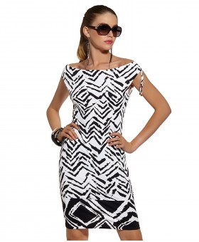 Geometric Veronic Fitted Dress